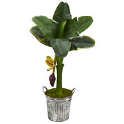 33 Banana Artificial Tree In Vintage Metal Pail Nearly Natural T1184