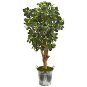 45 Panda Ficus Artificial Tree In Vintage Metal Bucket Nearly Natural 9508