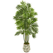 6and039 Areca Palm Artificial Tree In Vintage Green Floral Planter Nearly Natural 97