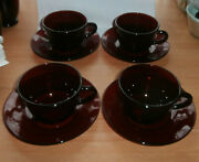 Set Of 4 Vintage Ruby Red Cups And Saucers 4 Plates 4 Saucers
