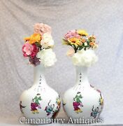 Pair Chinese Porcelain Pilgrim Vases - Painted Shangping Form Urns