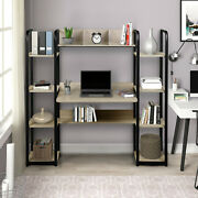 Home Office Computer Desk Wood Display Cabinet Workstation With Storage