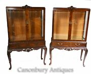 Pair Antique Display Cabinets - Walnut Victorian Bookcases