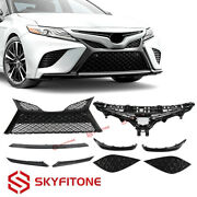 Front Grille Lower Molding Covers Gloss Black For Toyota Camry Se/xse 2018-2020