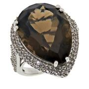 Colleen Lopez Sterling Silver Pear-cut Smoky Quartz And White Zircon Ring Size 7