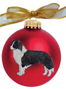 Border Collie Dog Hand Painted Christmas Ornament - Name And/or Photo