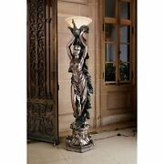 Ky7932 The Peacock Goddess Torchiere Floor Lamp 74 Tall - New
