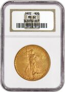 1922 20 St Gaudens Double Eagle Gold Ngc Ms62 Uncirculated Coin