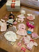 Vintage 1974 Monchhichi Sekiguchi Monkey Doll With Baby And 8 Outfits Rare Piece