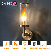 E14 E12 Led Flame Flickering Bulb Fire Emulation Candle Lamp Atmosphere Home Us