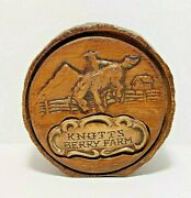 Vintage Knott's Berry Farm Faux Wood Slice Coin Money Bank By Treasure Craft 4