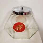 The Company Cookie Vtg Counter Top General Store Angled Glass Candy Jar Tilted