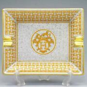 Hermes Ashtray 26096p Porcelain Cigar Tray Plate Gold Color 16x20cm With Box