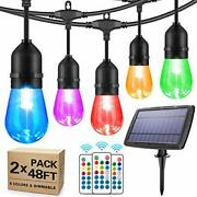 2-pack 48ft Solar Outdoor Rgb String Lights Color Patio Led String Light With