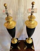 Vintagte Pair Of Ethan Allen Brass And Blue Painted Metal Double Socket Table La