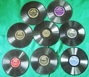 Large Lot 11 Vintage 78 Rpm Records, 2 Storage Albums And 38 Paper Record Sleeves