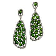 Colleen Lopez Sterling Silver Chrome Diopside And White Topaz Drop Earrings