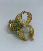 Vintage 18k Gold Emerald And Ruby Fish Pin / Brooch