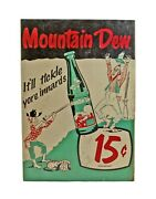 Vintage C1960and039s Mountain Mt. Dew Soda Hillbilly Tickle Yore Innards Paper Sign