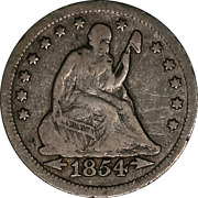 1854-o Seated Liberty Quarter Nice F Detail Huge And039oand039 Rare Wonderful Price