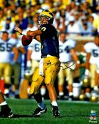 Tom Brady Michigan Wolverines Signed 16 X 20 Blue Throwing Photograph