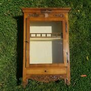 Antique Wood Glass Hanging Wall Cabinet Padded Fabric Interior Victorian Case