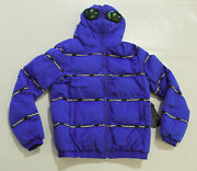 Black Pyramid Menand039s Striped Main Logo Goggle Down Puffer Jacket Cl8 Blue Large
