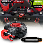 95and039 X 3/8 Synthetic Winch Rope 20000 Lb + 10and039and039 Hawse Fairlead + Red Clevis Hook