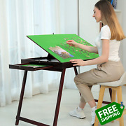 Wooden Portable Jigsaw Puzzle Table With Storage Two Drawers Folding Tilting Ta