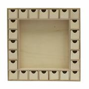 13 Inch Christmas Advent Calendar Shadow Box-pre Assembled W/ Removable Drawers