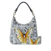 Anuschka Guardian Angel - Hand Painted Leather Hobo W Coin Pouch Nwt