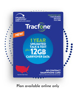 Tracfone 1 Year/365 Unlimited Talk And Text 12.0 Gb Of Data At 4g Lte Speed
