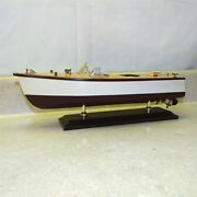 Vintage Chris Craft Wooden Boat On Stand, Model Kit, Display, Runabout Speed