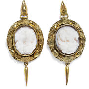 Enchanting Antique Earrings With Conch-gemmen In Gold Um 1860 Cameo Earrings