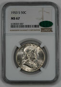 1953 S Franklin Half Dollar 50c Ngc And Cac Certified Ms 67 Mint State Unc 007