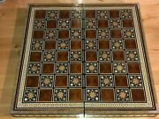 Carved Camel Bone Chess Set +15-3/4 Inlaid Wood And Mother Of Pearl Chess Board