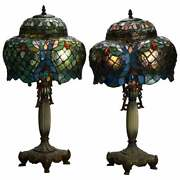 Antique Pair Art Nouveau Leaded Glass Pagoda Shaped Style Lamps 20th C