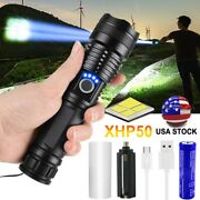 Bright Xhp50 Led Flashlight Zoomable Torch Hiking Camping Lamp 26650 Torches Set