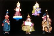Winter Christmas Orchestra Players Polish Blown Glass Ornaments Set Decorations