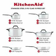 Kitchenaid 5-ply Clad Stainless Steel Cookware Pots And Pans Set, 10 Piece,
