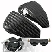 Black Side Oil Tank Battery Covers Set For Harley Sportster Forty-eight Xl1200x