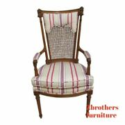 Baker Furniture French Regency Fireside Cain Back Arm Lounge Chair A