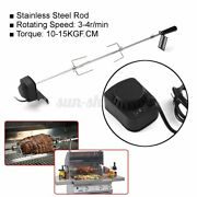 4w Stainless Steel Rotisserie Bbq Grill Roaster Spit Rod Camping Charcoal Kits