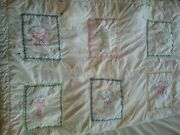 Handmade Heirloom Antique Baby Quilt 12 Patch Floral Cats Dogs Kittens Puppys