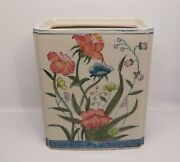 Rectangular Vase With Flowers Andrea By Sadek Flours De Chantilly Hand Painted