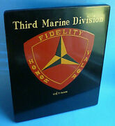 1960and039s 8and039and039x 10and039and039x 0.5and039and039 Laquered Wood Plaque And039and039third Marine Divisionand039and039 Viet-nam