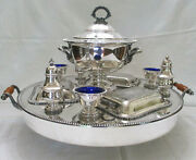 Silver Lazy Susan With Soup Tureen Restaurant Ware Early 20th Century Ny Antique