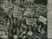 1956 Press Photo Delegates Hoist Signs For John Kennedy At Democratic Convention