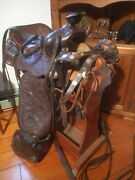 Vtg J R Rowell Saddle Co Hayward Calif Engraved Tooled Western And Coin Studded