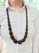 130gr 88cm Marbled Cherry Amber Bakelite Beaded Necklace Huge And Heavy